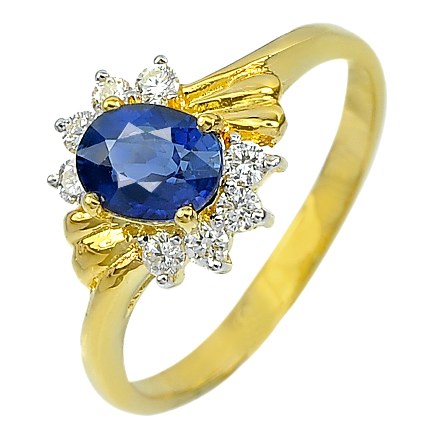 1.00 Ct. Natural Blue Sapphire with White Diamond 18K Solid Gold Ring Size 6
