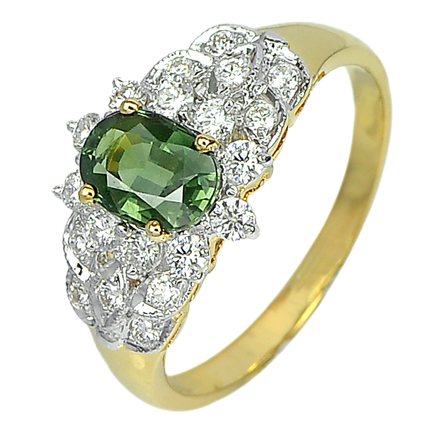 1.10 Ct. Natural Green Sapphire with White Diamond 18K Solid Gold Ring Size 6.5