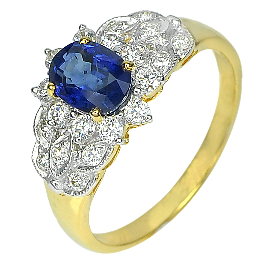 1.14 Ct. Natural Blue Sapphire with White Diamond 18K Solid Gold Ring Size 6.5