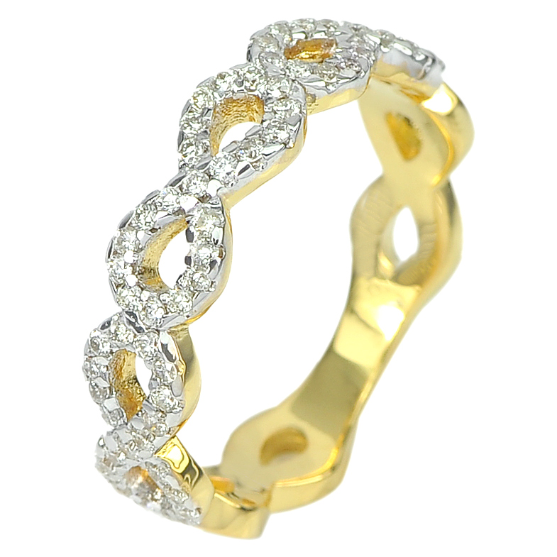 0.29 Ct. Round Brilliant Cut Natural White Diamond 18K Solid Gold Ring Size 5.5