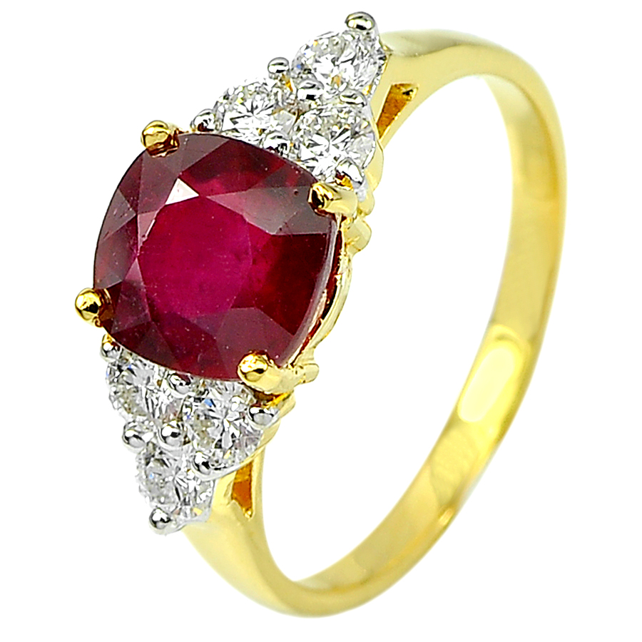 2.49 Ct. Cushion Natural Red Ruby and White Diamond 18K Solid Gold Ring Size 6