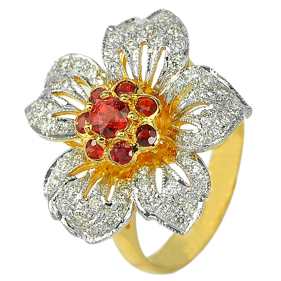 0.55 Ct. Natural Red Songea Sapphire and Diamond 18K Solid Gold Ring Size 6.5