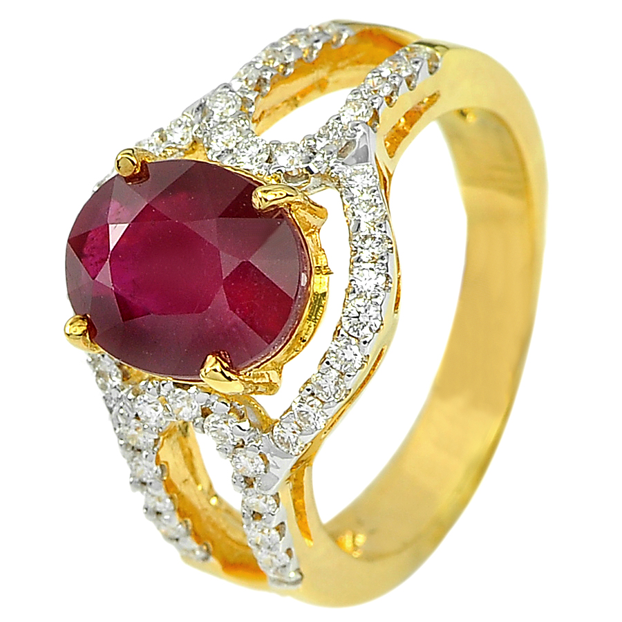 3.49 Ct. Oval Natural Red Ruby and White Diamond 18K Solid Gold Ring Size 6.5