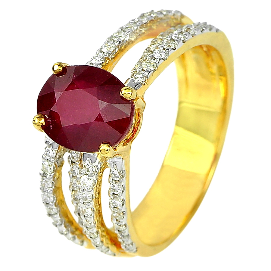 2.86 Ct. Oval Natural Red Ruby and White Diamond 18K Solid Gold Ring Size 6