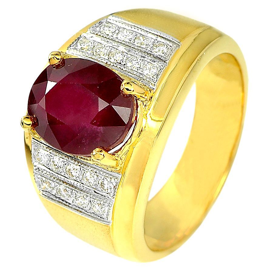 4.41 Ct. Oval Natural Red Ruby and White Diamond 18K Solid Gold Ring Size 7