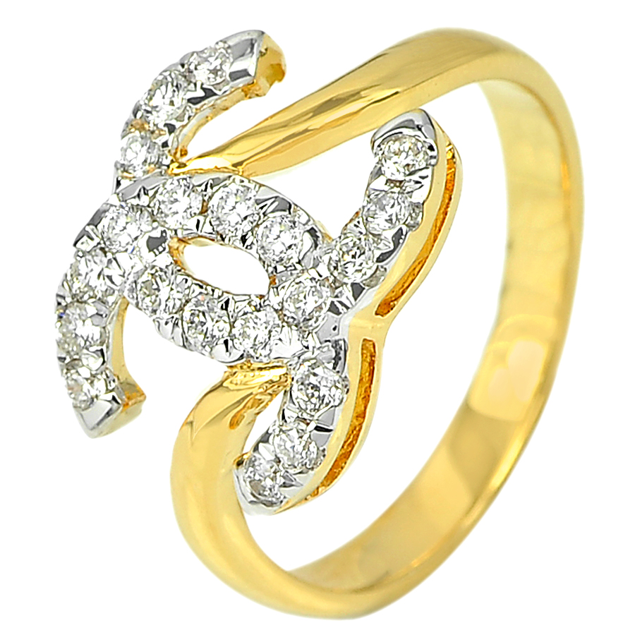 0.33 Ct. Round Brilliant Cut Natural White Diamond 18K Solid Gold Ring Size 5.5