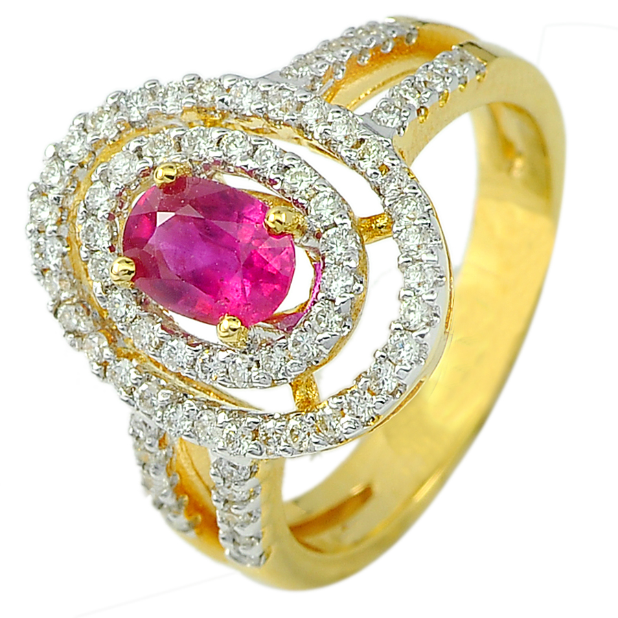 0.94 Ct. Oval Natural Red Ruby and White Diamond 18K Solid Gold Ring Size 6