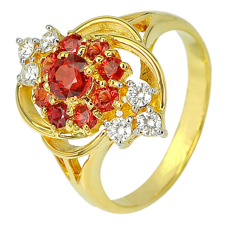 0.70 Ct. Natural Red Songea Sapphire and Diamond 18K Solid Gold Ring Size 7