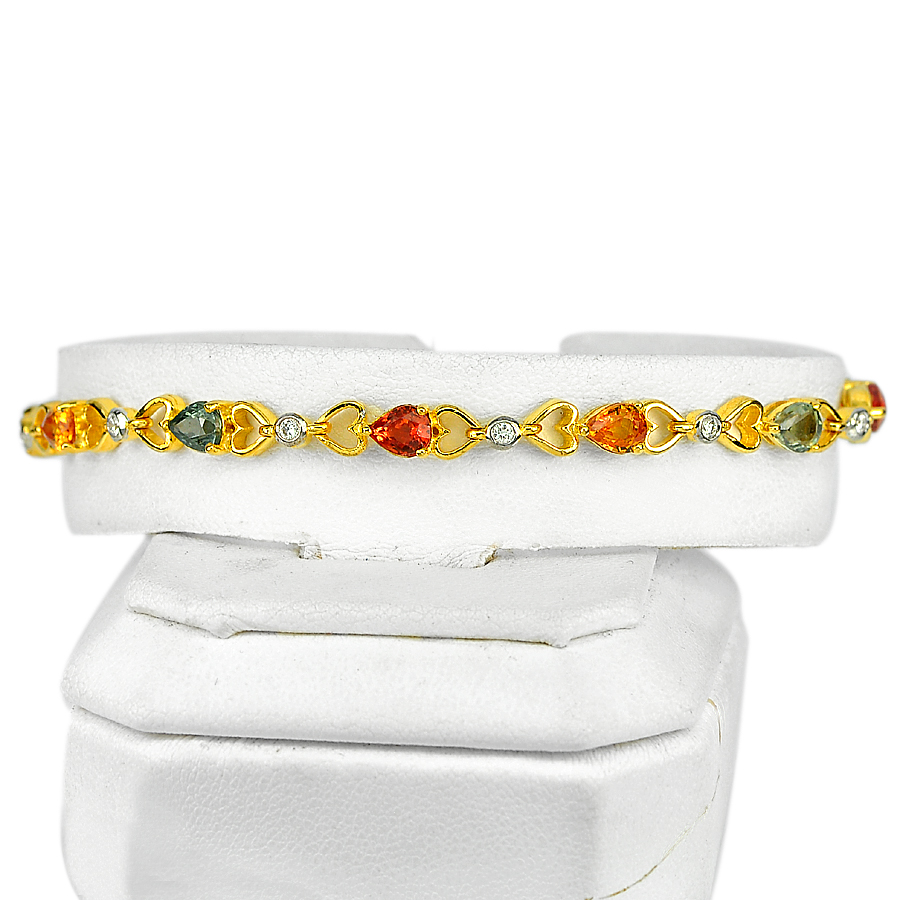 5.44 Ct. Natural Multi-Color Songea Sapphire 18K Solid Gold Bracelet 7 Inch.