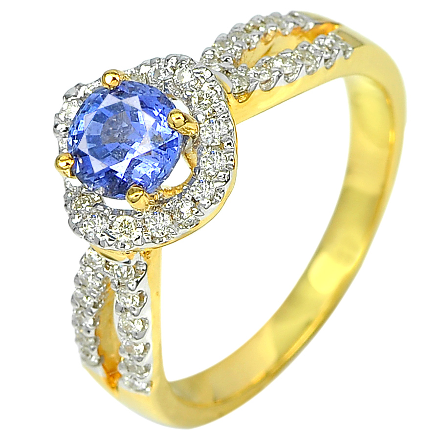 1.02 Ct. Natural Blue Sapphire with White Diamond 18K Solid Gold Ring Size 7