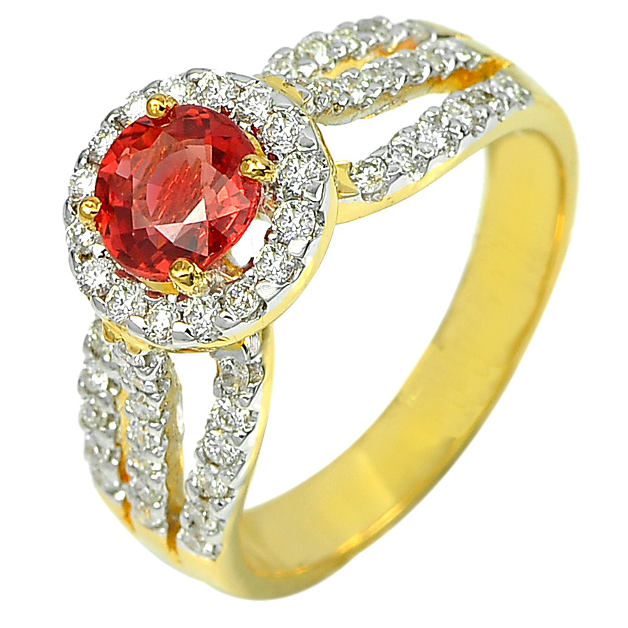 0.97 Ct. Natural Red Songea Sapphire with Diamond 18K Solid Gold Ring Size 6.5