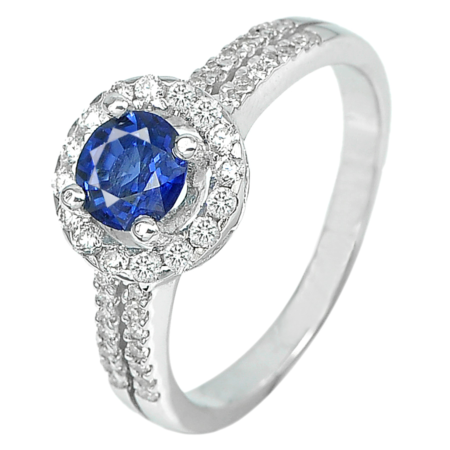 0.74 Ct. Natural Blue Sapphire with Diamond 18K Solid White Gold Ring Size 6
