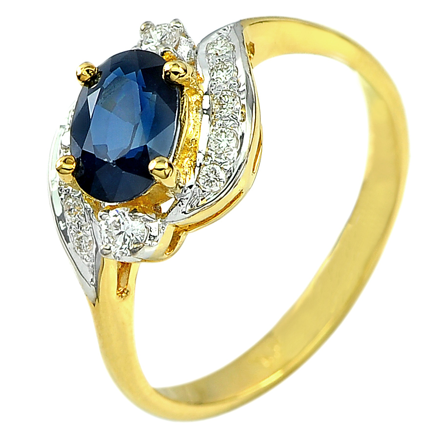 1.23 Ct. Natural Blue Sapphire with White Diamond 18K Solid Gold Ring Size 6.5