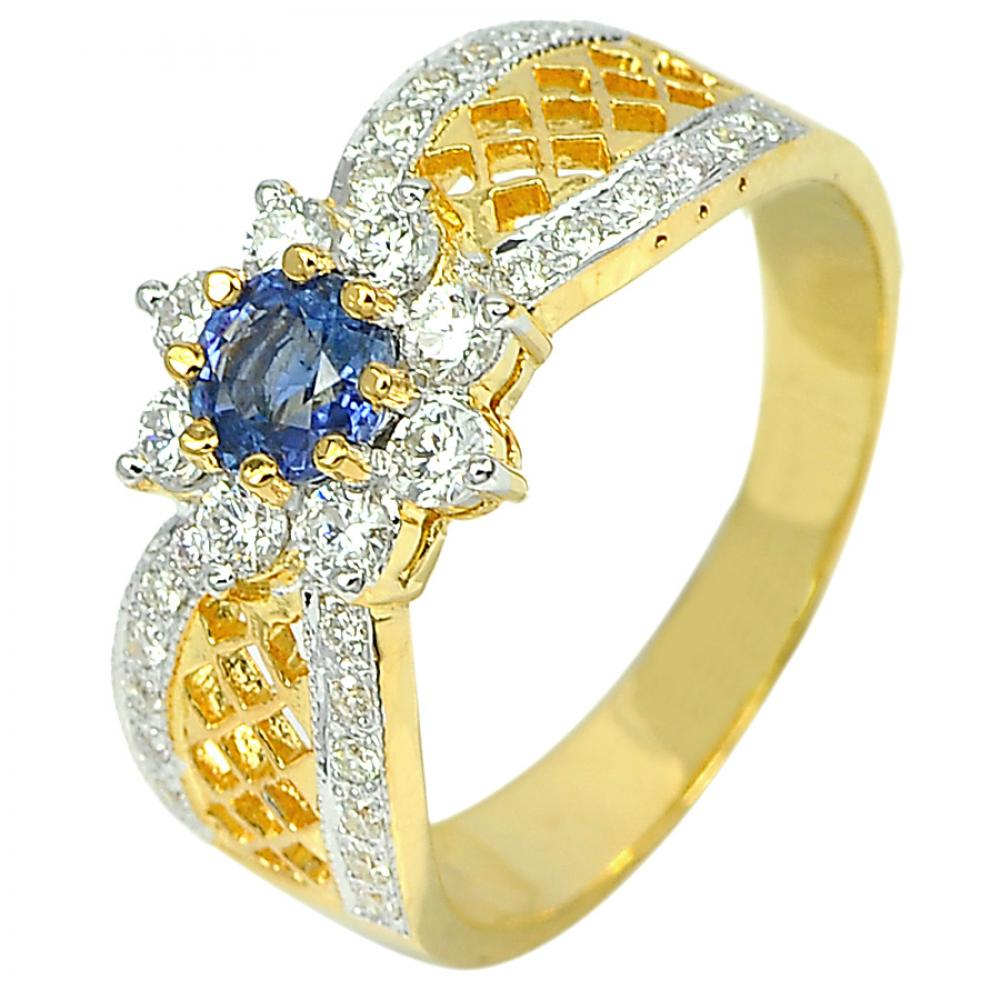 0.52 Ct. Natural Blue Sapphire with White Diamond 18K Solid Gold Ring Size 6.5