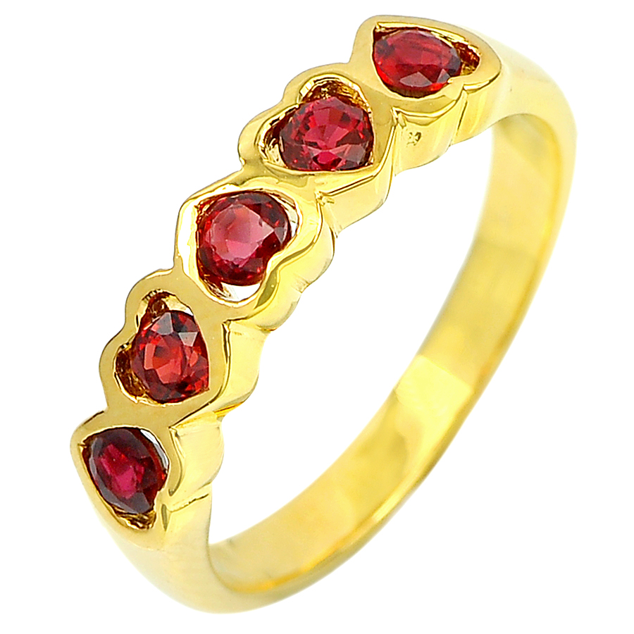 0.75 Ct. Natural Red Songea Sapphire with Diamond 18K Solid Gold Ring Size 6.5