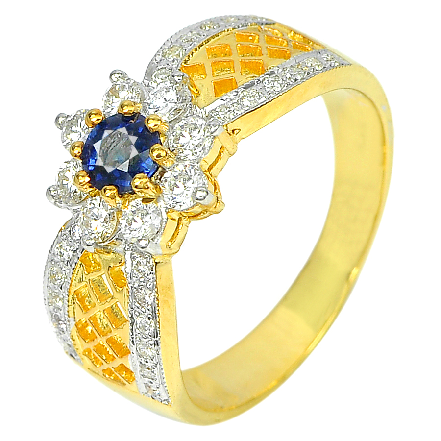 0.35 Ct. Natural Blue Sapphire with White Diamond 18K Solid Gold Ring Size 6.5