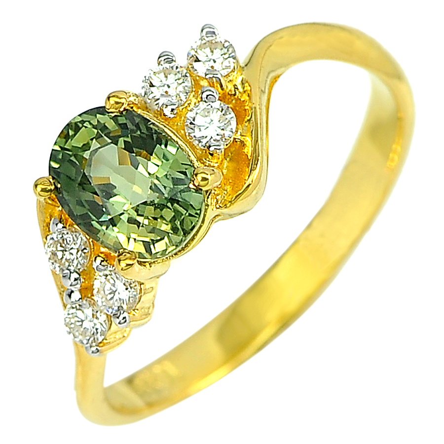 1.33 Ct. Natural Green Songea Sapphire with Diamond 18K Solid Gold Ring Size 6.5