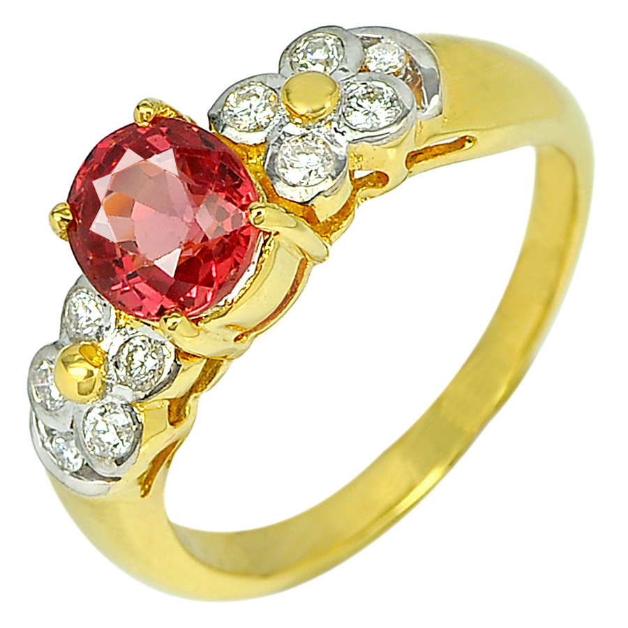 1.66 Ct. Natural Red Songea Sapphire with Diamond 18K Solid Gold Ring Size 6.5