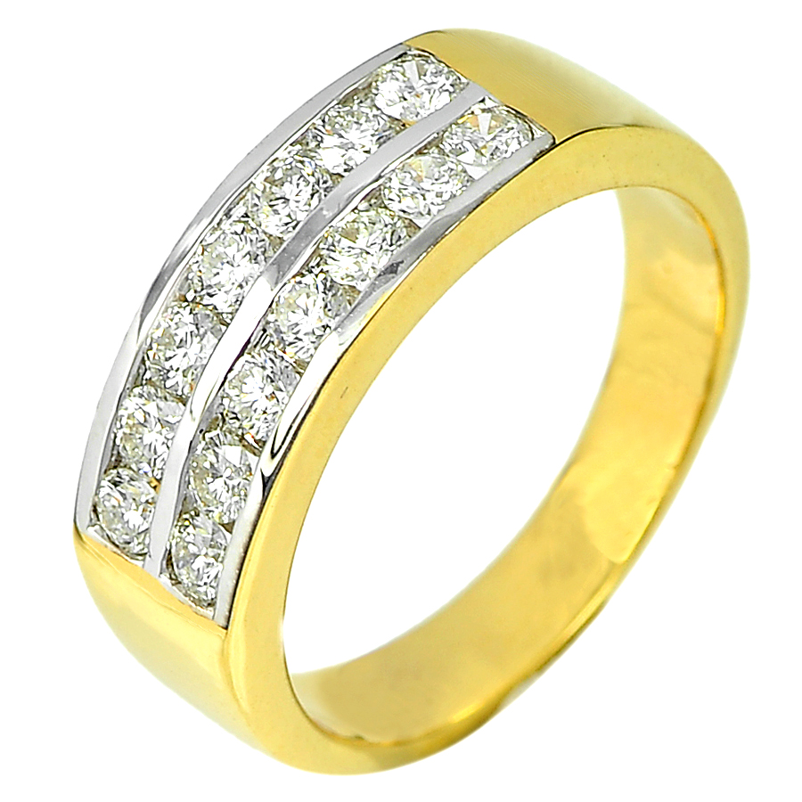 0.79 Ct. Natural Round Brilliant Cut White Diamond 18K Solid Gold Ring Size 7