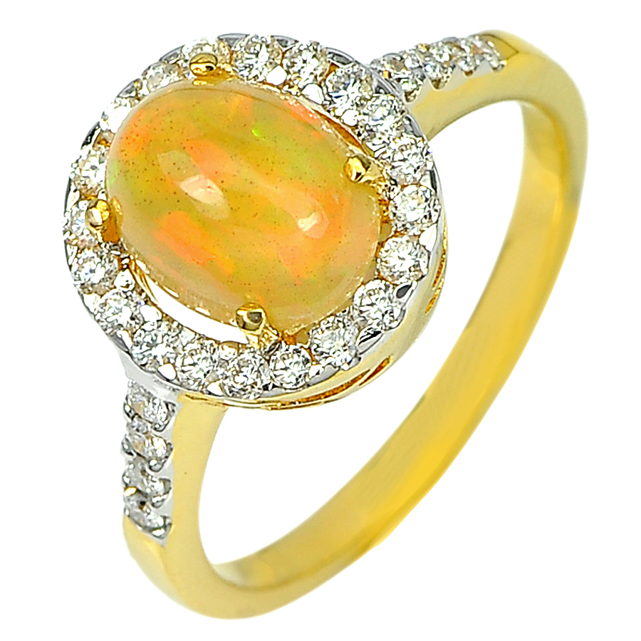1.33 Ct. Natural Multi Color Opal with White Diamond 18K Solid Gold Ring 6.5