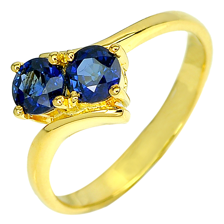 1.09 Ct. Round Natural Blue Sapphire with Diamond 18K Solid Gold Ring Size 6.5