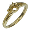 3.27 G. 18K Yellow Gold Round Cut 4 mm. Semi Mount Ring Size 7