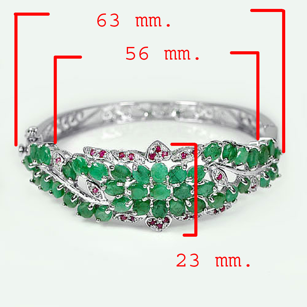 20.00 G. Natural Emerald Ruby 925 Sterling Silver Bracelet Size 63 x 56 x 23 Mm.