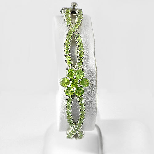 12.22 G. Round Natural Gemstone Green Peridot Real 925 Silver Jewelry Bangle