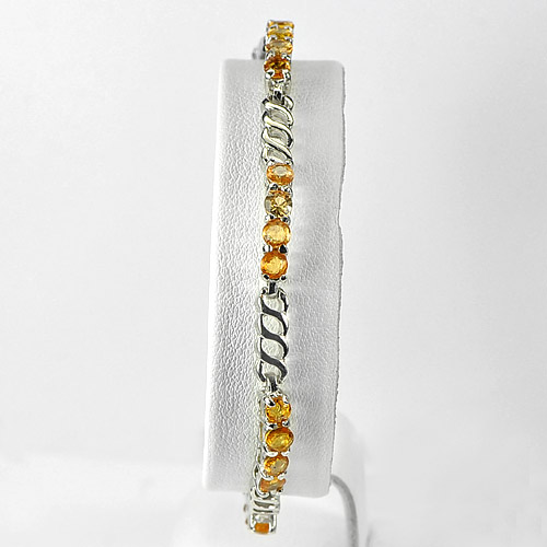 10.88 G. Natural Yellow Sapphire Real 925 Silver Jewelry Bracelet Length 7 Inch.