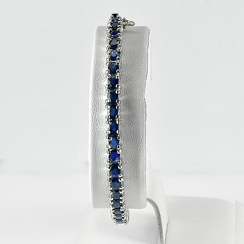 10.39 G. Alluring Natural Blue Kyanite 925 Silver Jewelry Bracelet