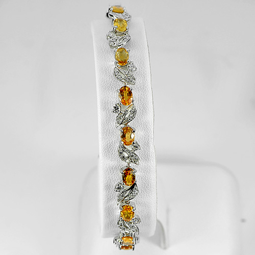 11.94 G. Natural Yellow Sapphire Real 925 Silver Jewelry Bracelet Length 7 Inch