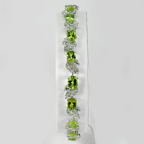 Charming 12.27 G. Natural Green Peridot 925 Silver Bracelet Length 7.5 Inch