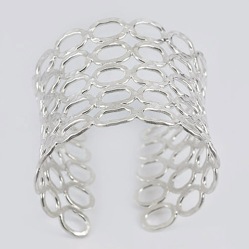 68.00 G. Real 70 Sterling Silver Adjustable Bangle Fine Jewelry Diameter 57 mm.
