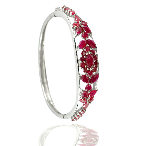 Good Color 25.31 G. Natural Purplish Red Real 925 Sterling Silver Jewelry Bangle