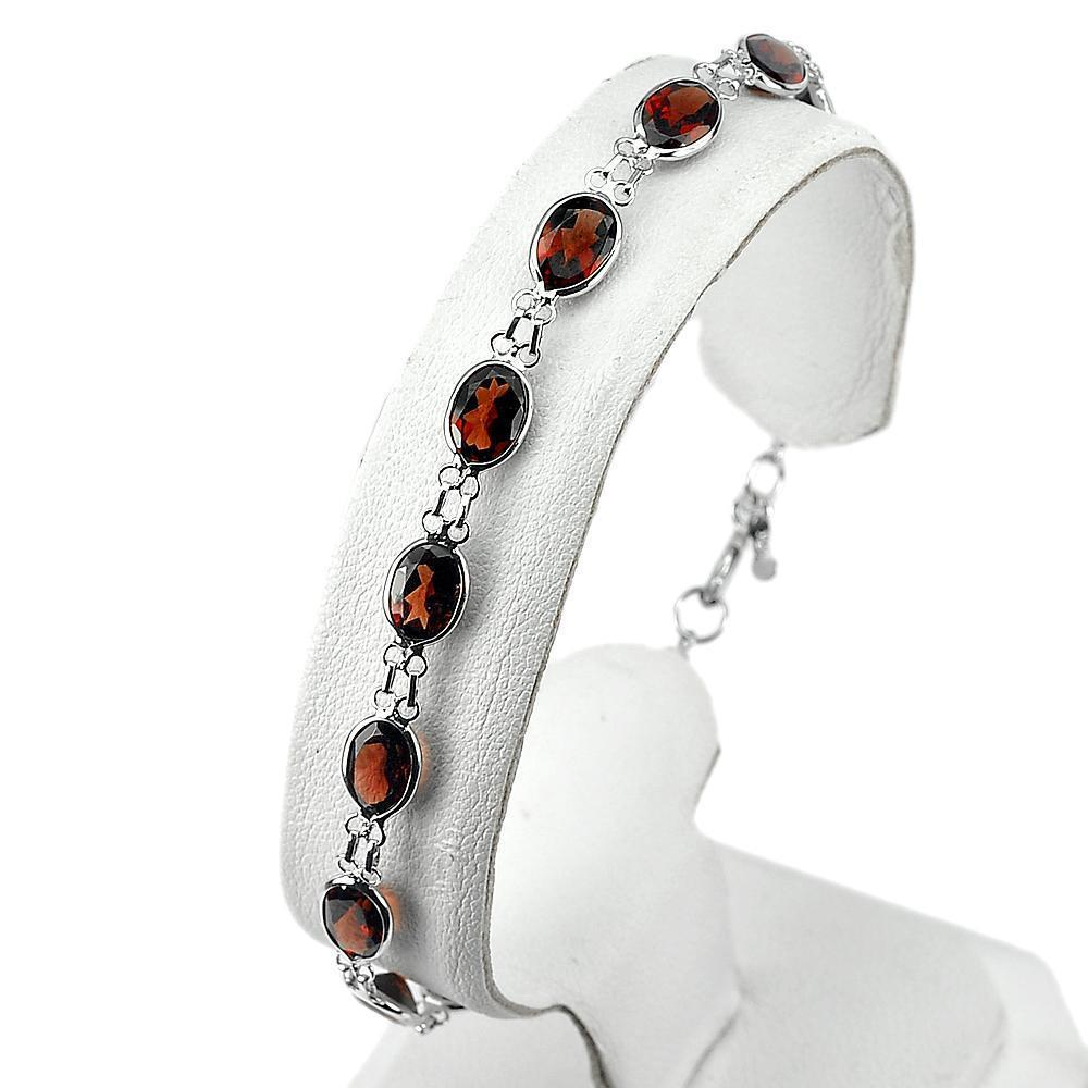 3.96 G. Natural Gemstones Oval  Red Garnet 925 Silver Jewelry Bracelet 7.5 Inch