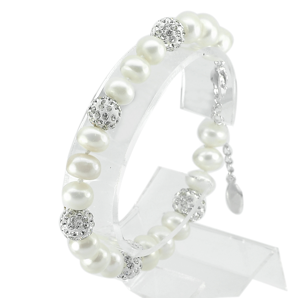 21.45 G. Good Natural White Pearl Real 925 Silver Sterling Fine Bracelet 7 Inch.
