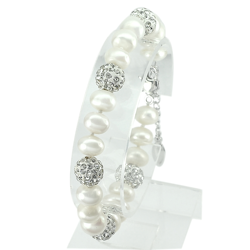 21.08 G. Nice Natural White Pearl Real 925 Silver Fine Jewelry Bracelet 7 Inch.