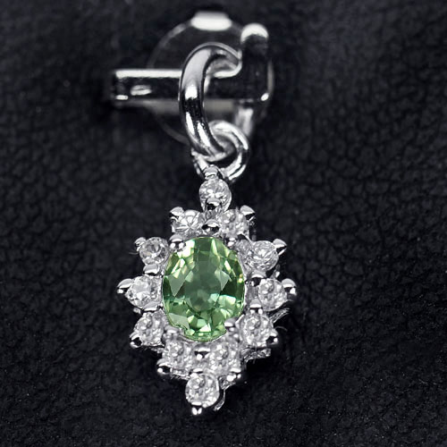 0.81 G. Natural Green Songea Sapphire 925 Sterling Silver Pendant