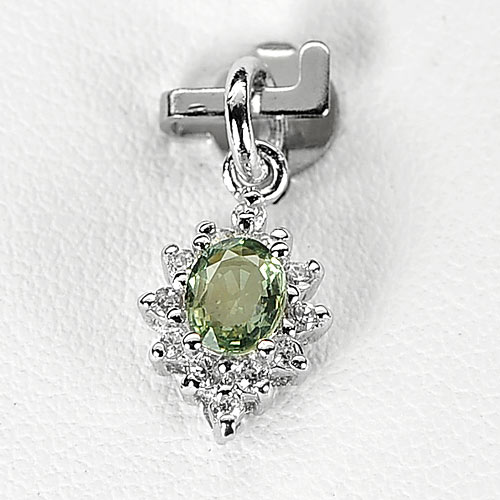 0.77 G. Natural Gem Green Songea Sapphire Real 925 Sterling Silver Pendant