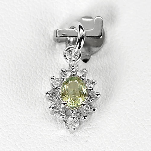 Nice 0.76 G. Natural Green Songea Sapphire Sterling Silver Pendant