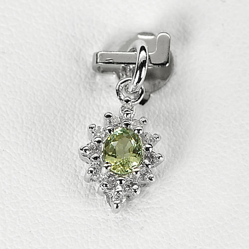 0.77 G. Charming Natural Green Songea Sapphire Sterling Silver Pendant