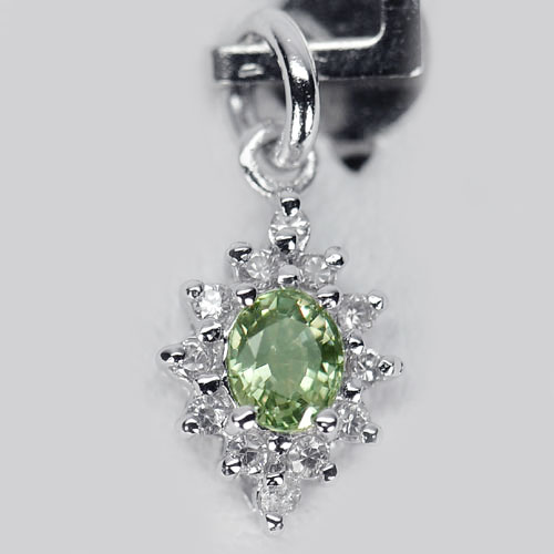 0.83 G. Natural Green Songea Sapphire 925 Sterling Silver Pendant