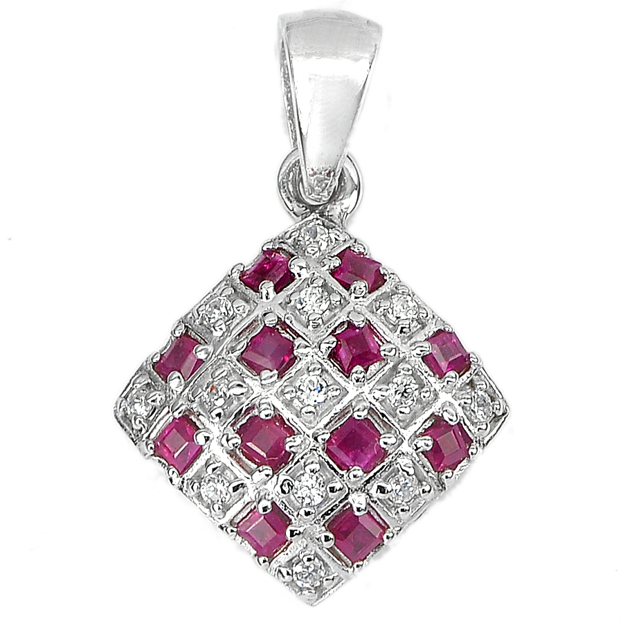 3.31 G. Natural Square Purplish Red Ruby 925 Sterling Silver Jewelry Pendant