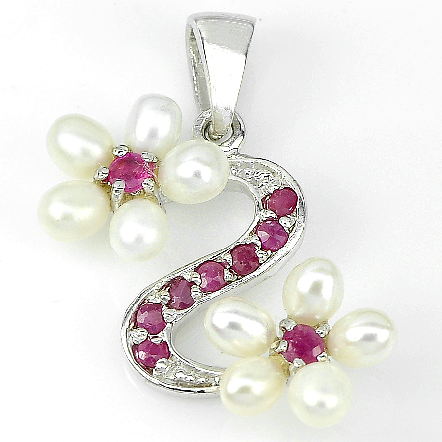 3.89 G. Natural Gems Red Ruby And White Pearl Real 925 Sterling Silver Pendant