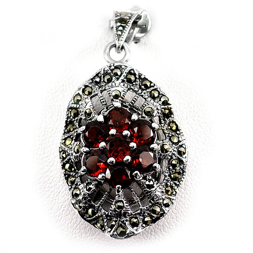 8.83 G. Natural Orangish Red Rhodolite Garnet Real 925 Sterling Silver Pendant
