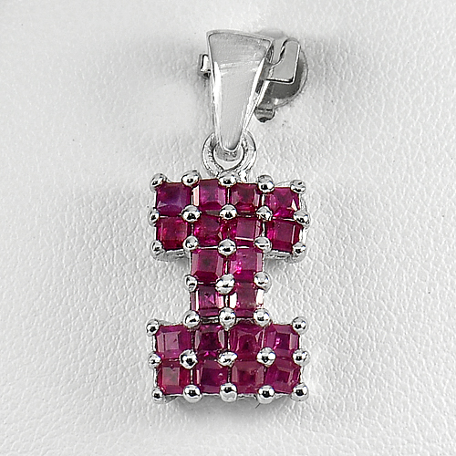 3.04 G. Natural Purplish Pink Ruby Gemstone Real 925 Sterling Silver Pendant