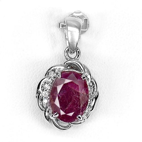 3.92 G. Natural Purplish Red Ruby Real 925 Sterling Silver Jewelry Pendant