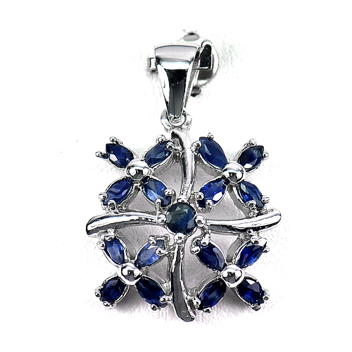 4.08 G. Natural Gemstone Blue Sapphire Real 925 Sterling Silver Jewelry Pendant
