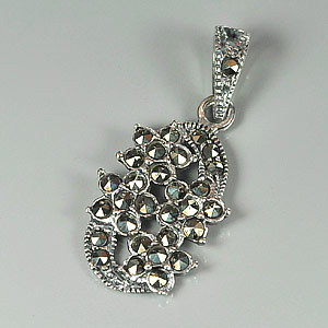 1.94 G. Charming Many Round Black Marcasite 925 Silver Jewelry Pendent