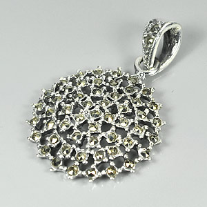 3.24 G. Nice Black Marcasite 925 Silver Jewelry Pendent
